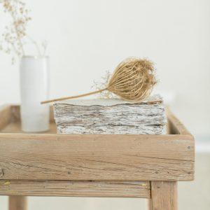 שולחן צד עם מגש נשלף | Recycled Wood Side Table